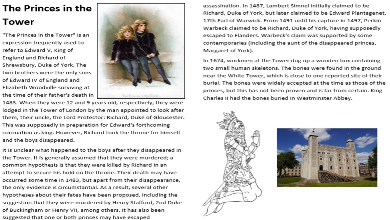 The Princes in the Tower Activity Pack
