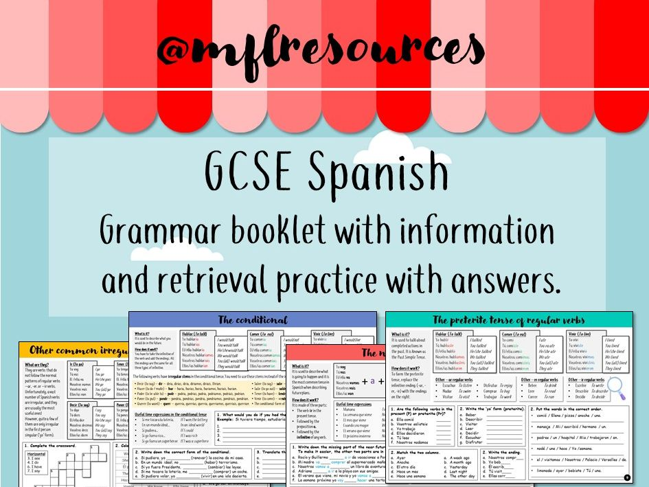 GCSE Spanish - Most important tenses (booklet with practice and answers)