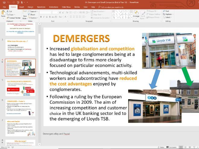 04. Demergers and Small Firms (Slides, Activities and Notes) - Edexcel A-Level Economics - Theme 3