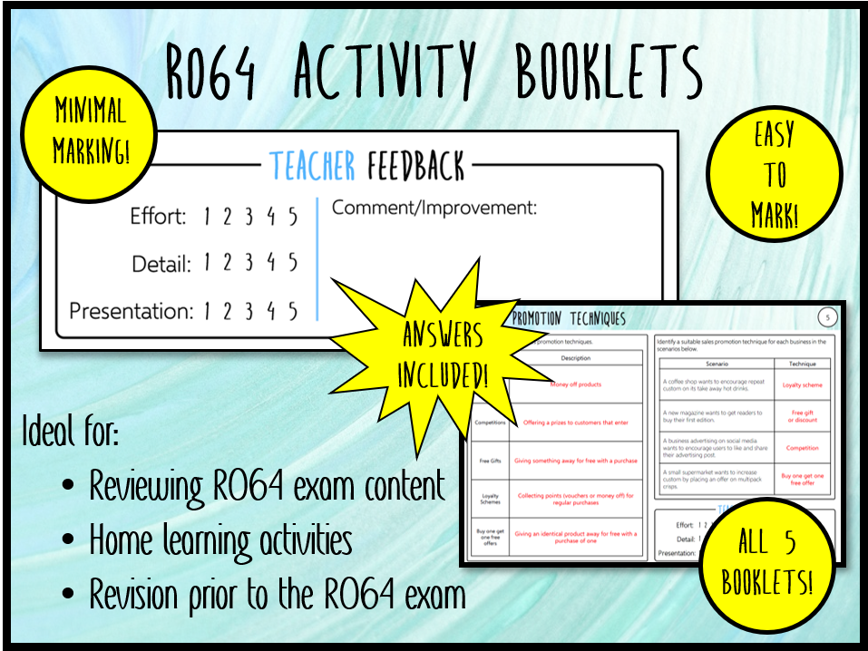 R064 ALL 5 Activity Booklets + Answers (Perfect Homework) - Cambridge National in Enterprise