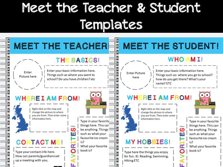 Meet the Teacher and Meet the Student Combined Bundle