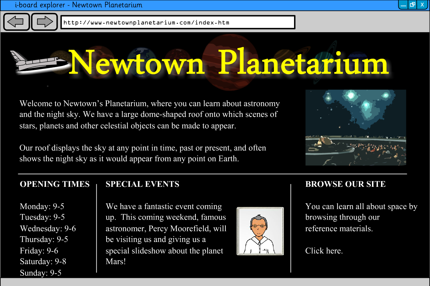 Interactive Information Website - Planets and Space - KS2 Literacy