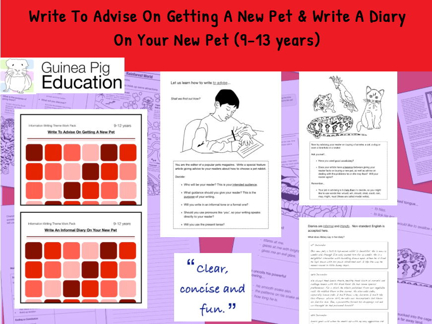 Advise And Write A Diary On Your New Pet (Information Writing Pack) 9-14  years