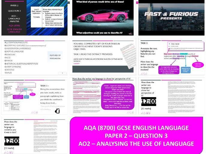 AQA 8700/2 English Language - Analysis Boy Racer Article