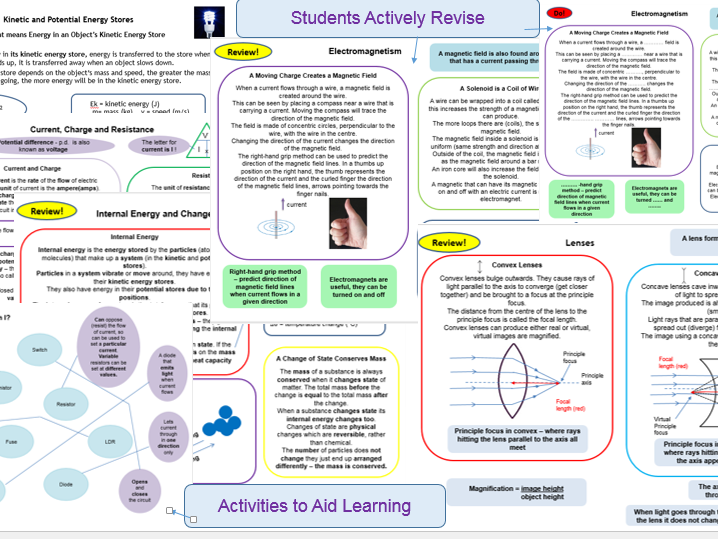 Energy, Electricity, Particle, Atomic Structure, Forces, Waves, Space, Summary of Whole of Physics AQA 9-1 GCSE as Active Revision Cards and Activities for Learning