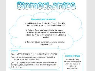 Biomechanics Poster AS PE OCR