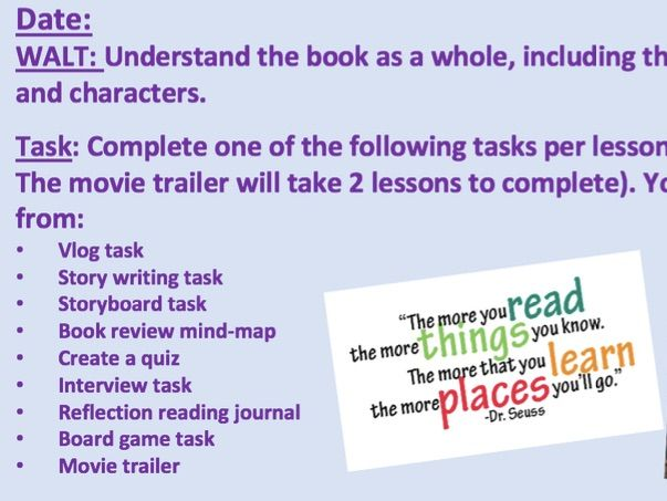 9 x End of Novel Tasks - Suitable for KS3 - Fully Differentiated