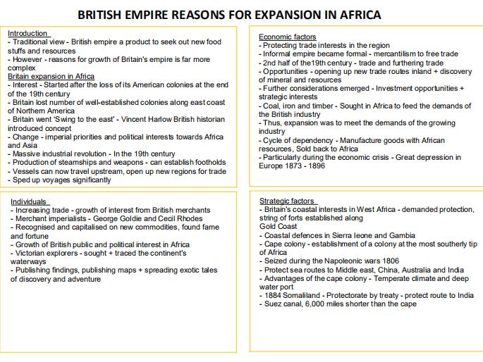 1J BRITISH EMPIRE - BRITISH EXPANSION IN AFRICA