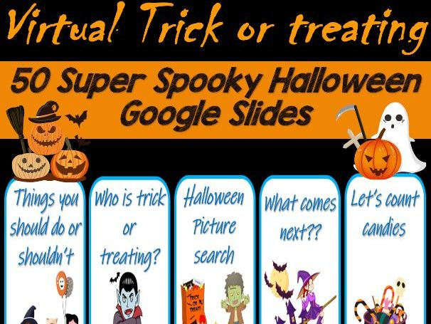 Virtual Trick or Treat   Halloween   Distance Learning - 50 Google Slides
