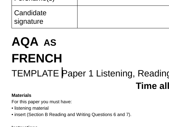 AQA French AS Level Paper 1 Template and M/S template