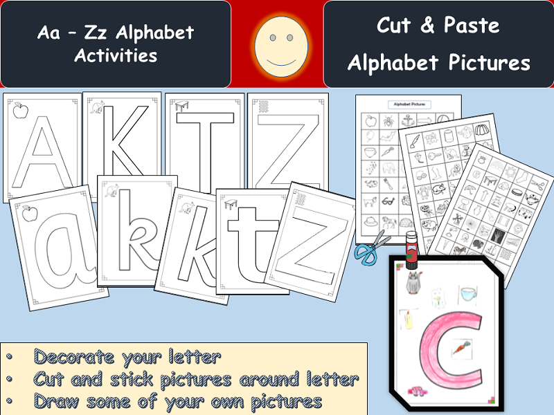 Alphabet Cut/Paste Activities and Pictures, Upper/Lower Letters, Plain Letters Templates, Notes
