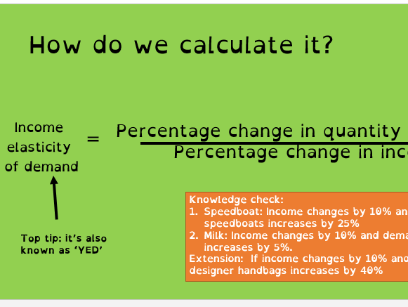 1.2.5 Income elasticity of demand Business A-level  lesson: Presentation, Lesson plan & worksheets