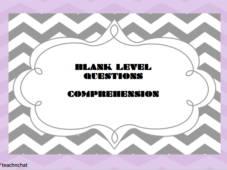 Oral Language - Blank Level Comprehension Questions Pack