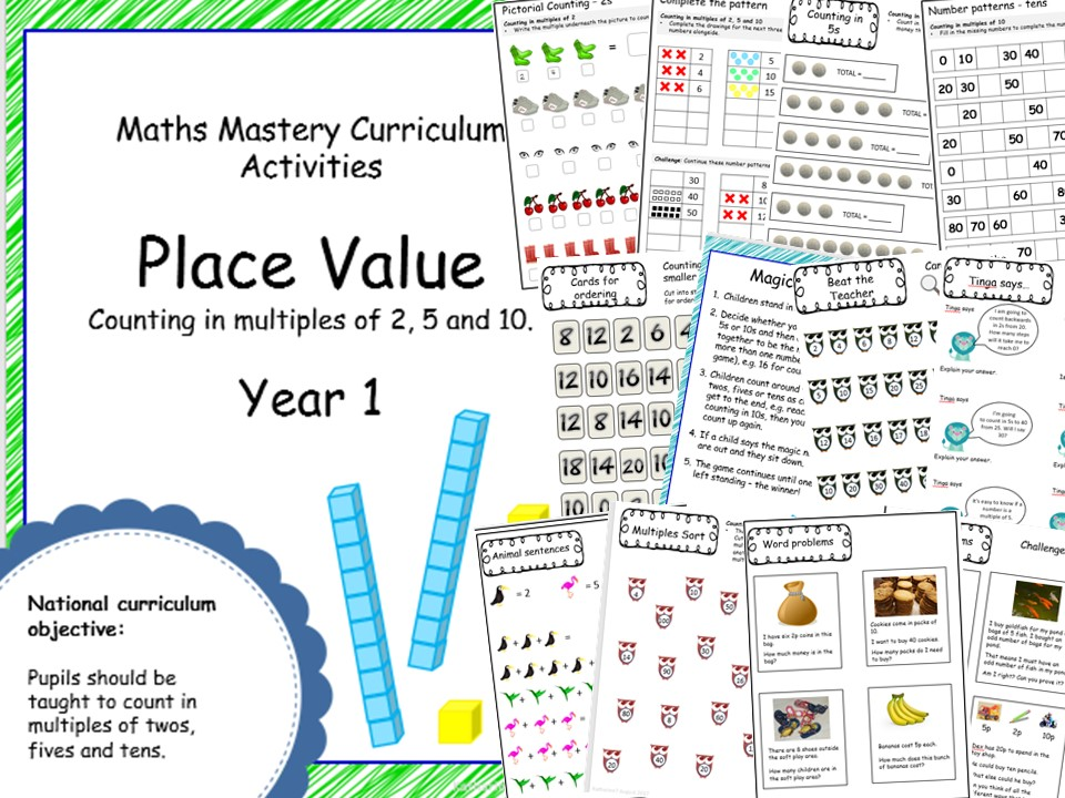 Place Value mastery materials - Year 1 - counting in multiples of 2, 5 and 10