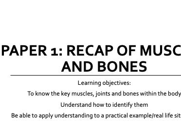 GCSE PE OCR - 1.1a/b Recap of muscles and bones