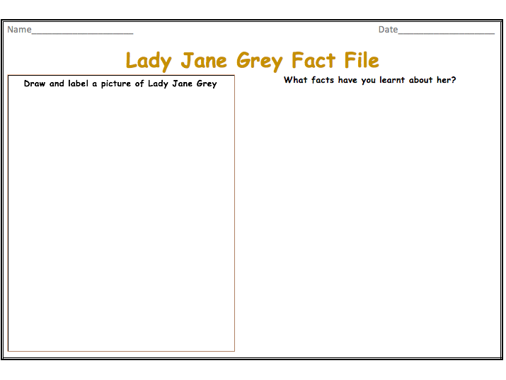Lady Jane Grey Fact File Templates