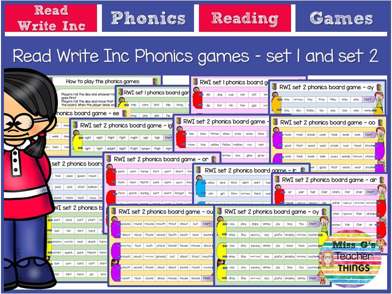RWI phonics board games Set 1 and 2 sounds