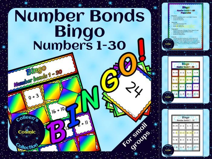 Number Bonds Bingo for numbers 1-30 for Small Groups