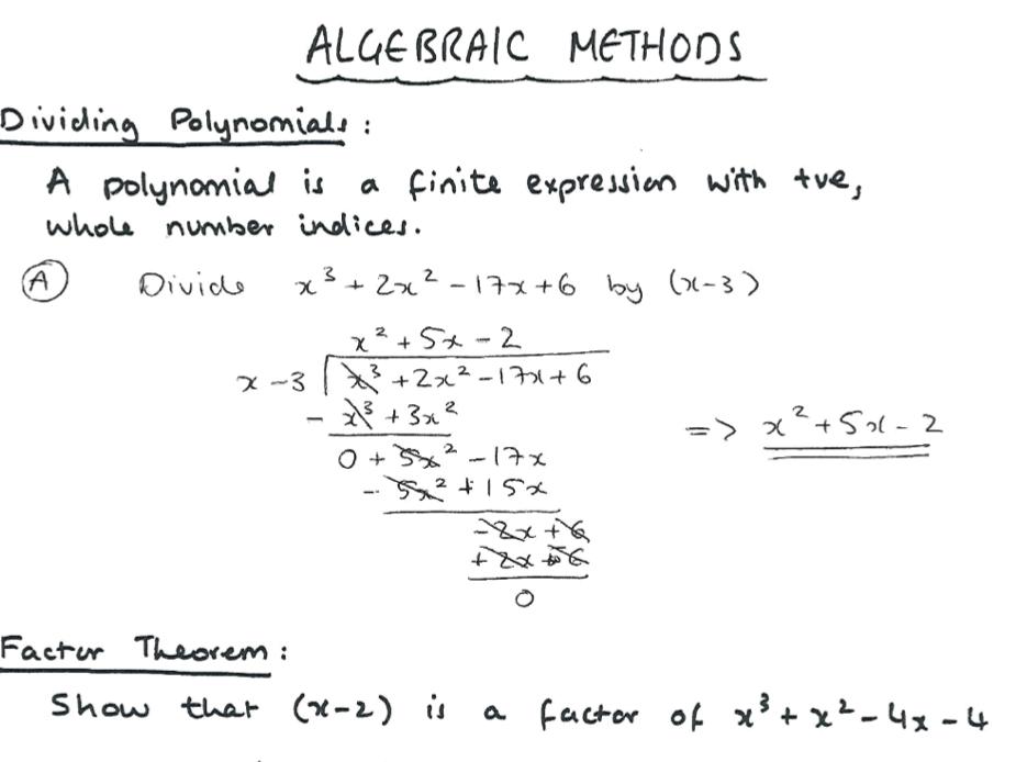 EDEXCEL A-Level Maths Algebraic Methods Notes