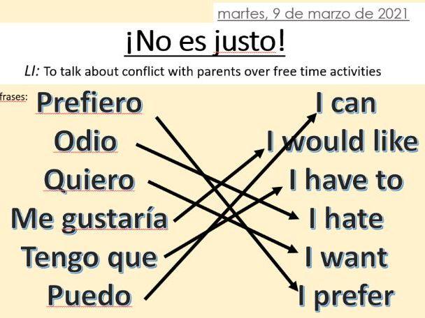 ¡No es justo! Part 1 KS3 Spanish