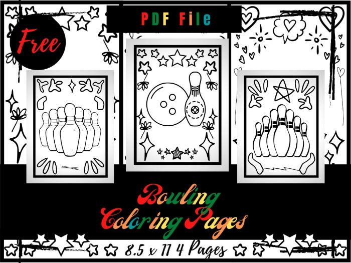 FREE Bowling Colouring Pages For Kids, Free Bowling Game Printable Colouring Sheets PDF