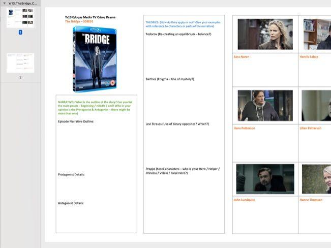 The Bridge Case Study Worksheet (Episode 1 Series 3 (Eduqas) [Double Sided] PDF A3 (Scalable)
