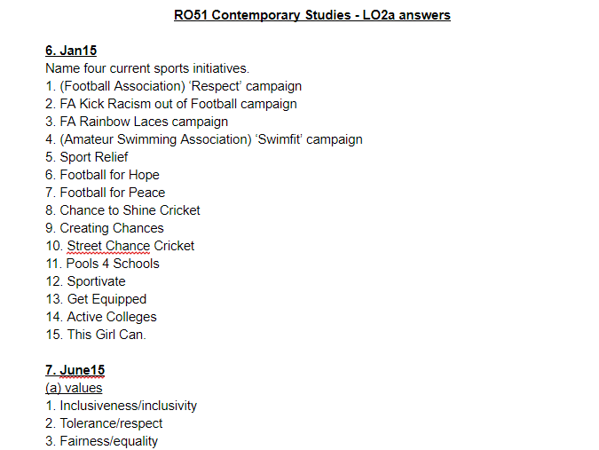 LO2a questions and answers - OCR Cambridge National Sports Studies RO51