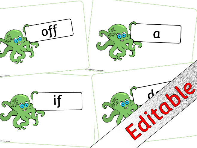 Phase 2 Words - Cute Octopus theme - Editable