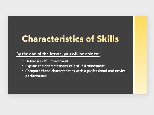 GCSE PE - Characteristics of Skills