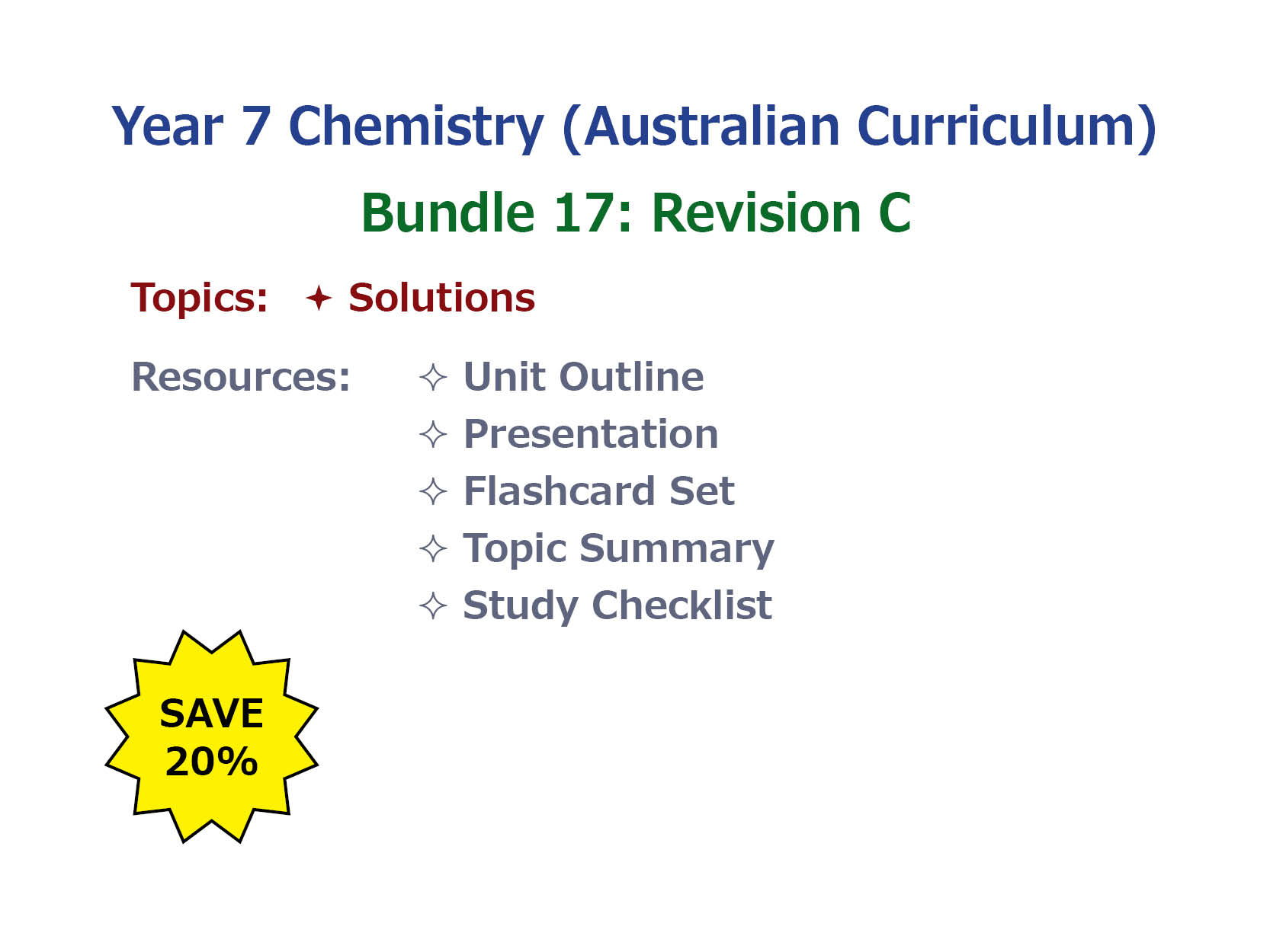 7AU Chemistry: Revision Bundle C
