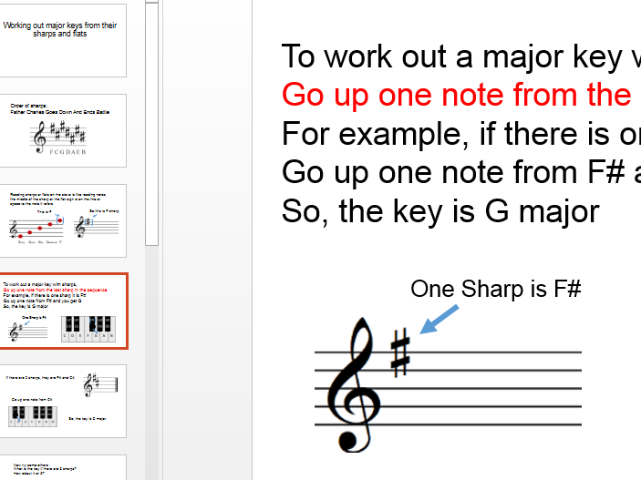 Identify a major key from the key signature - sharps and flats - PowerPoint