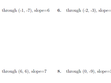 Equation of a line through a point with given slope  worksheet no 2 (with solutions)