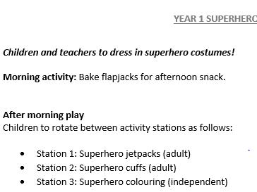Superhero Training Day -Reception/Year 1