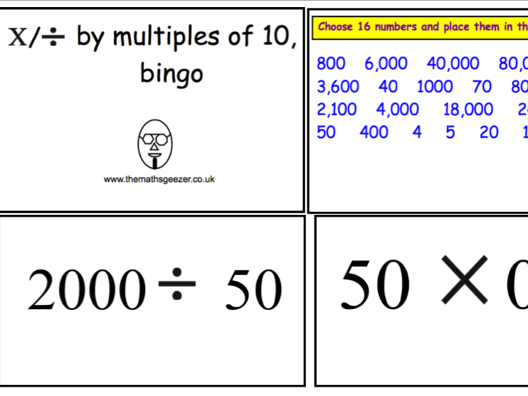 Dividing & Multiplying by Multiples of 10 Bingo