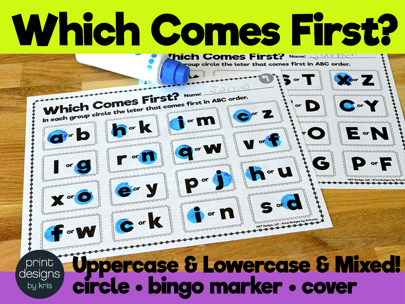 Which Comes First? My First Alphabetical Order Activity