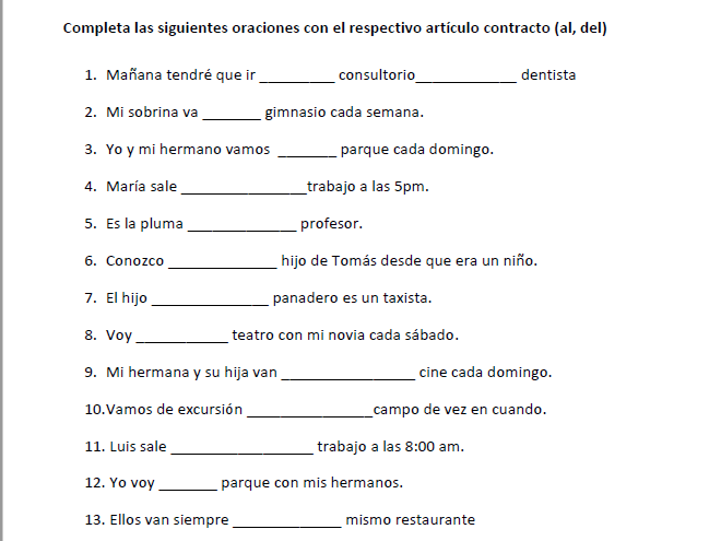 Spanish- Articles Contractions (al,del)  Worksheet with 40 gap filling exercises + class activities
