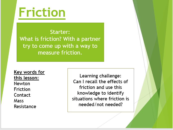 KS3 (year 7) physics lesson: friction