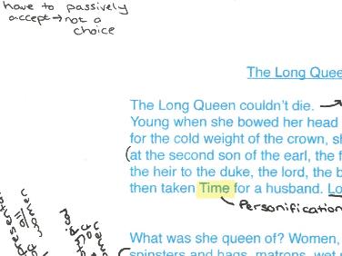 Feminine Gospels, Duffy: The Long Queen, poem analysis