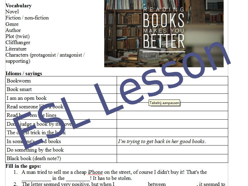 Books & Reading - ESL English conversation handout / lesson plan