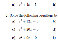 Completing the square and solving quadratic equations by completing the square worksheet
