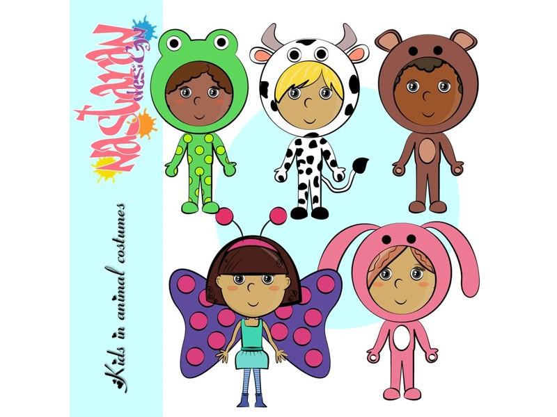 Kids In Animal Costume Clip art