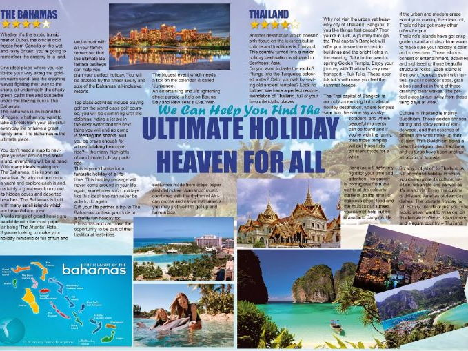 Persuasive Writing - Holiday Brochure