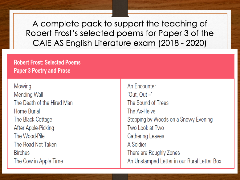 Robert Frost - AS Teaching Pack