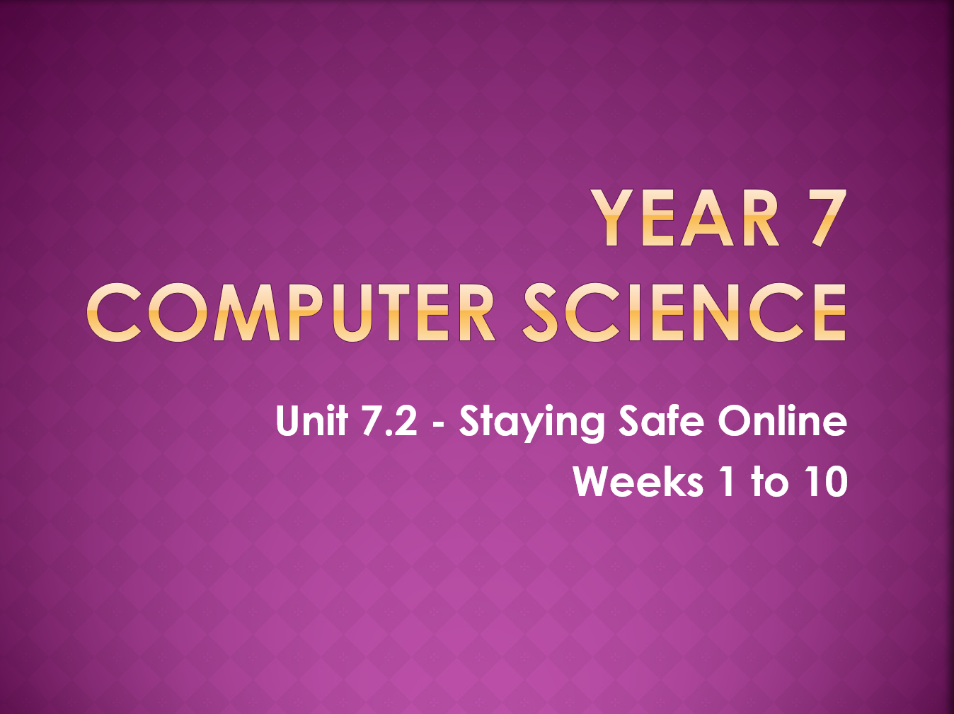 Complete Computer Science KS3 SOW: Staying Safe Online