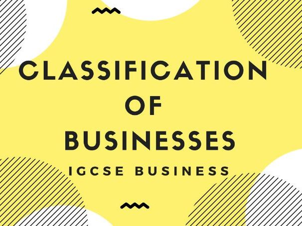 1.2 Classification of businesses IGCSE Business
