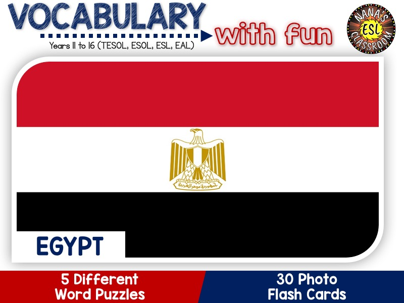 Egypt - Country Symbols: 5 Different Word Puzzles and 30 Photo Flash Cards (IGCSE ESL, TESOL, ESOL)