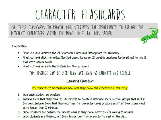 Holes - Character Flashcards Drama Activity