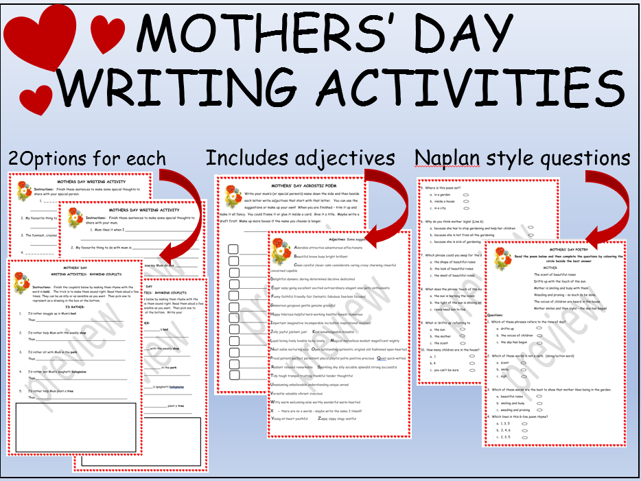 Mothers' Day Writing Activities