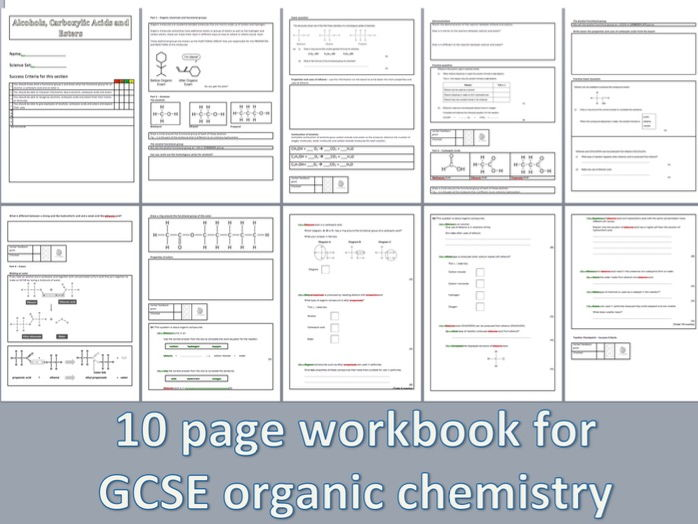 AQA GCSE Chemistry Introductory Workbook on Alcohols, Carboxylic acids and Esters