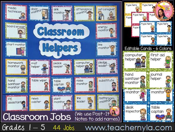 Classroom Jobs Glitter Border Set - 44 Illustrated Job Cards Plus Editable Cards